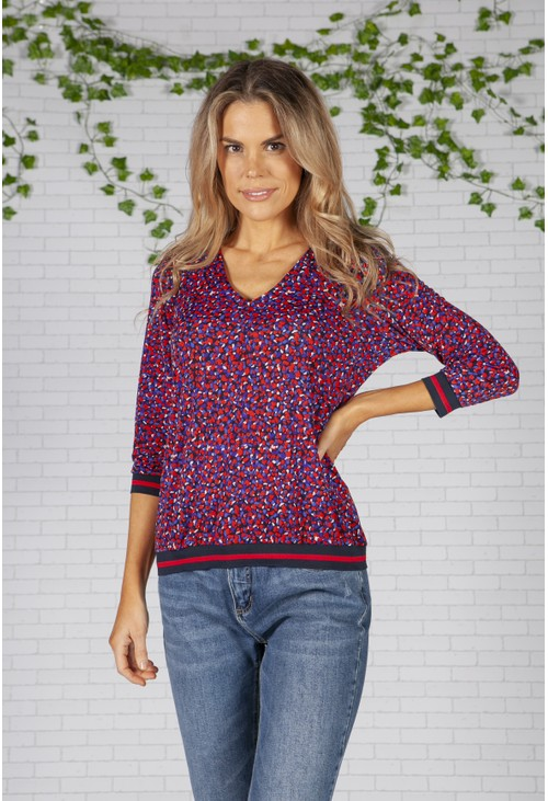 Pamela Scott Red and Blue Printed V-neck Top