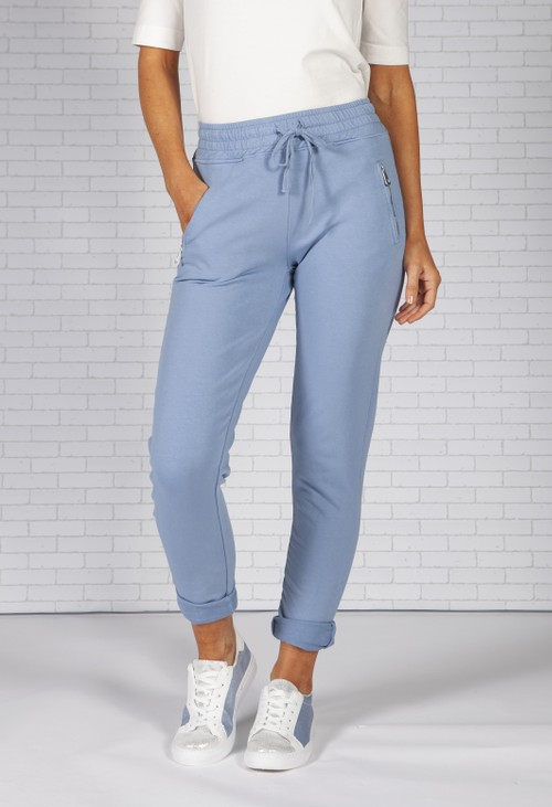 Pamela Scott Light Blue Joggers with Side Zip Pockets