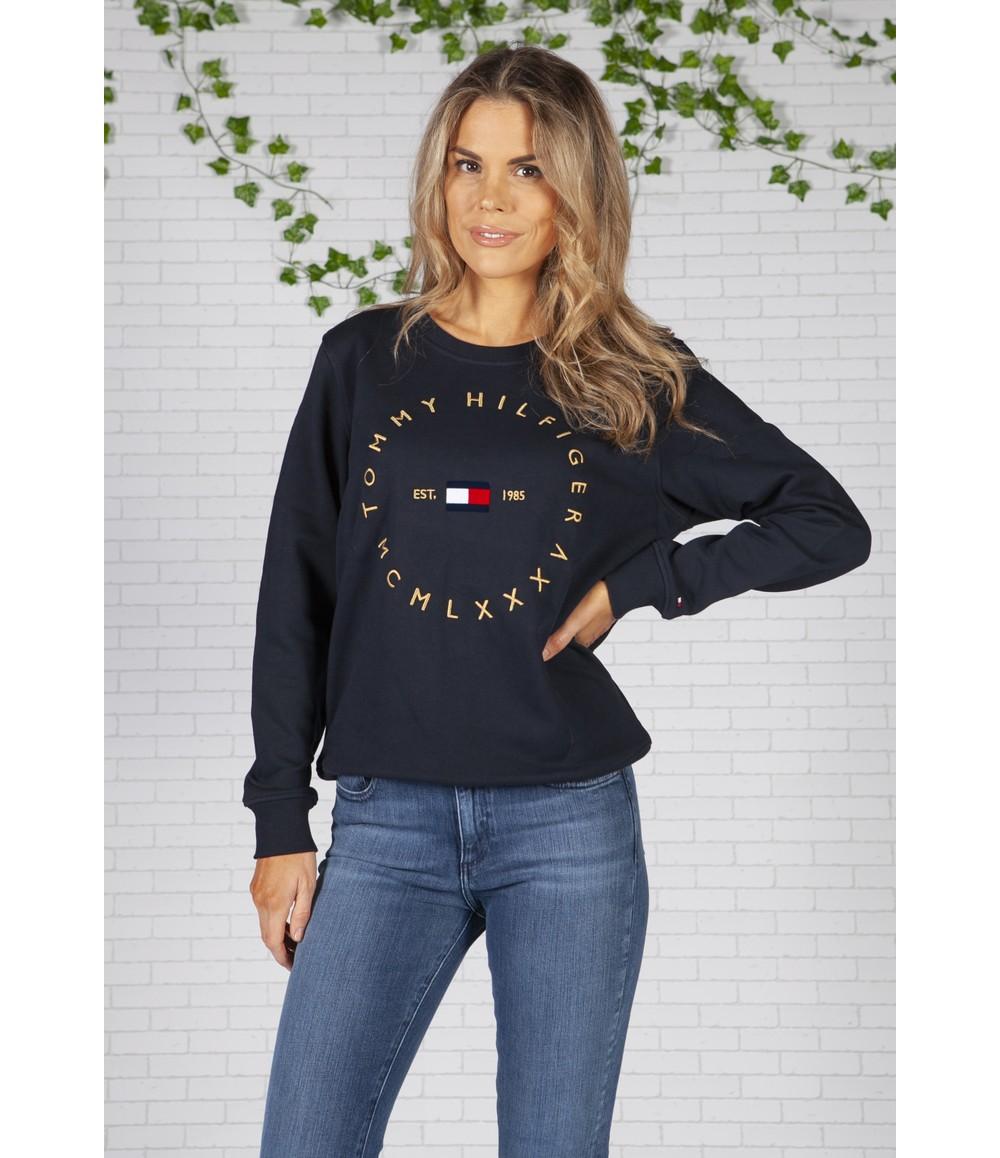 Tommy Hilfiger Navy Circle Logo Organic Cotton Sweatshirt