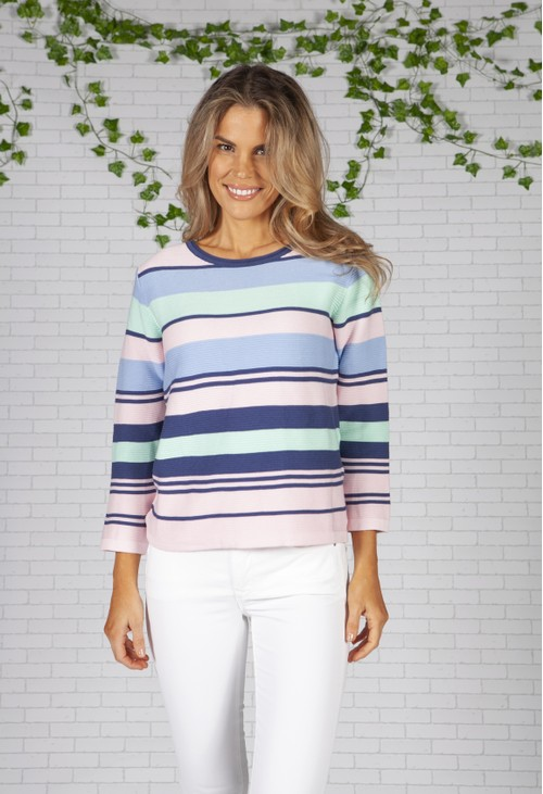 Twist Pastel Striped Knit Top