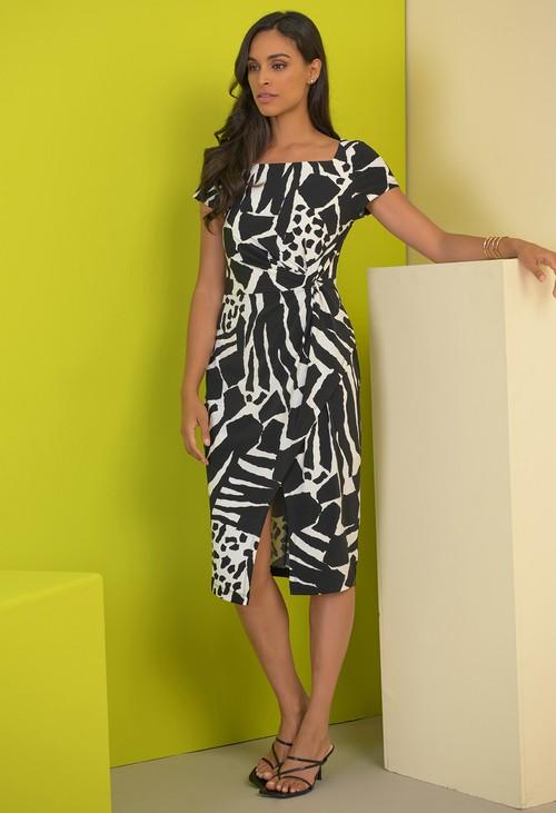 Joseph Ribkoff Animal Print Cap Sleeve Dress