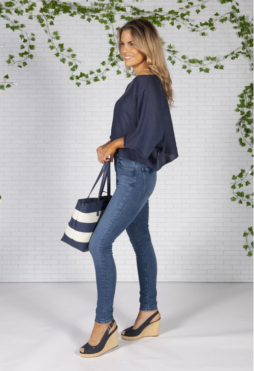 Gionni striped shopper style bag in navy and white
