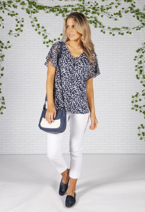 Sophie B Blue Floral Design Jersey Top