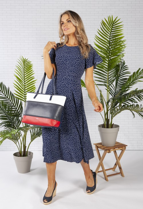 Gionni striped shopper bag in navy, red and white