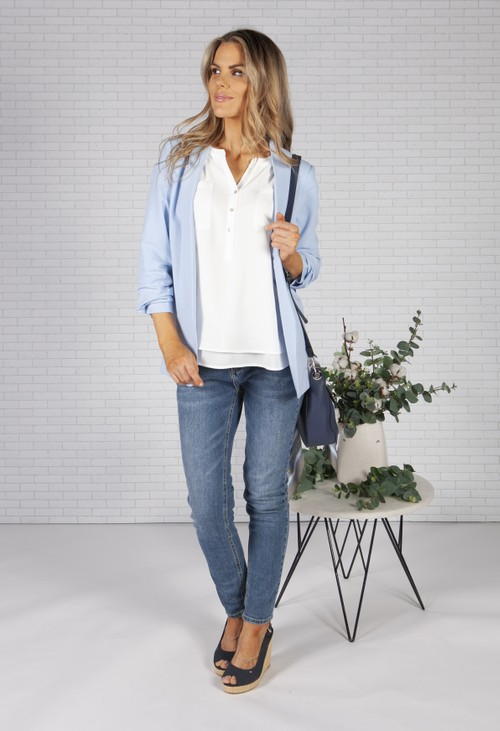 Pieces Sky Blue Ruched Sleeve Blazer