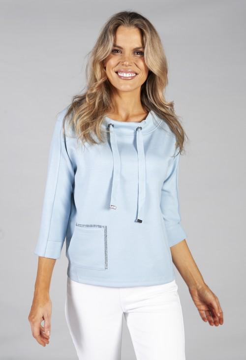 Monari 3/4 Sleeve Sweatshirt With Patch Pocket Detail in powder blue