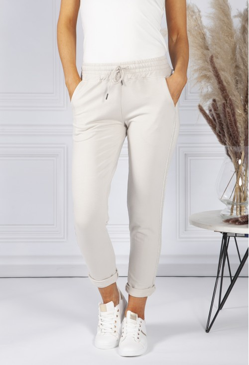 Pamela Scott BEIGE JOGGERS WITH A LUREX DETAIL SIDE STRIPE