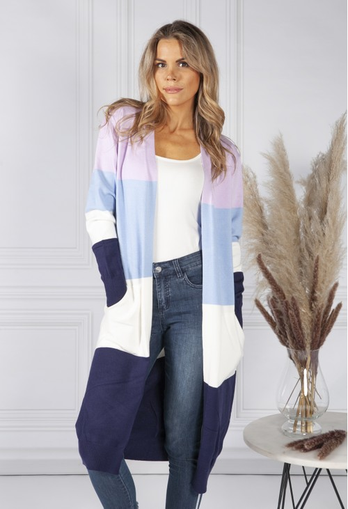 Pamela Scott Lavender Colour Block Cardigan