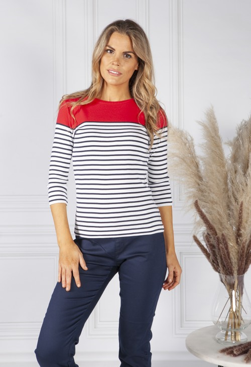 Twist Ruby Red Stripe Top