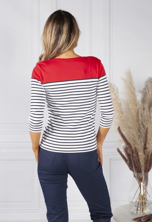 Twist Ruby Red Stripe Top