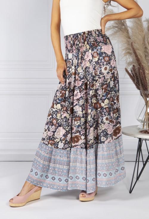 Pamela Scott Vintage Tiered Floral Print Skirt