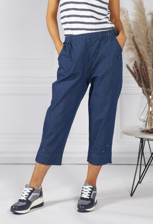 Pamela Scott Embroidered Denim Joggers