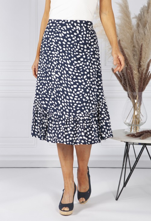 Pamela Scott Navy Polka Dot Skirt