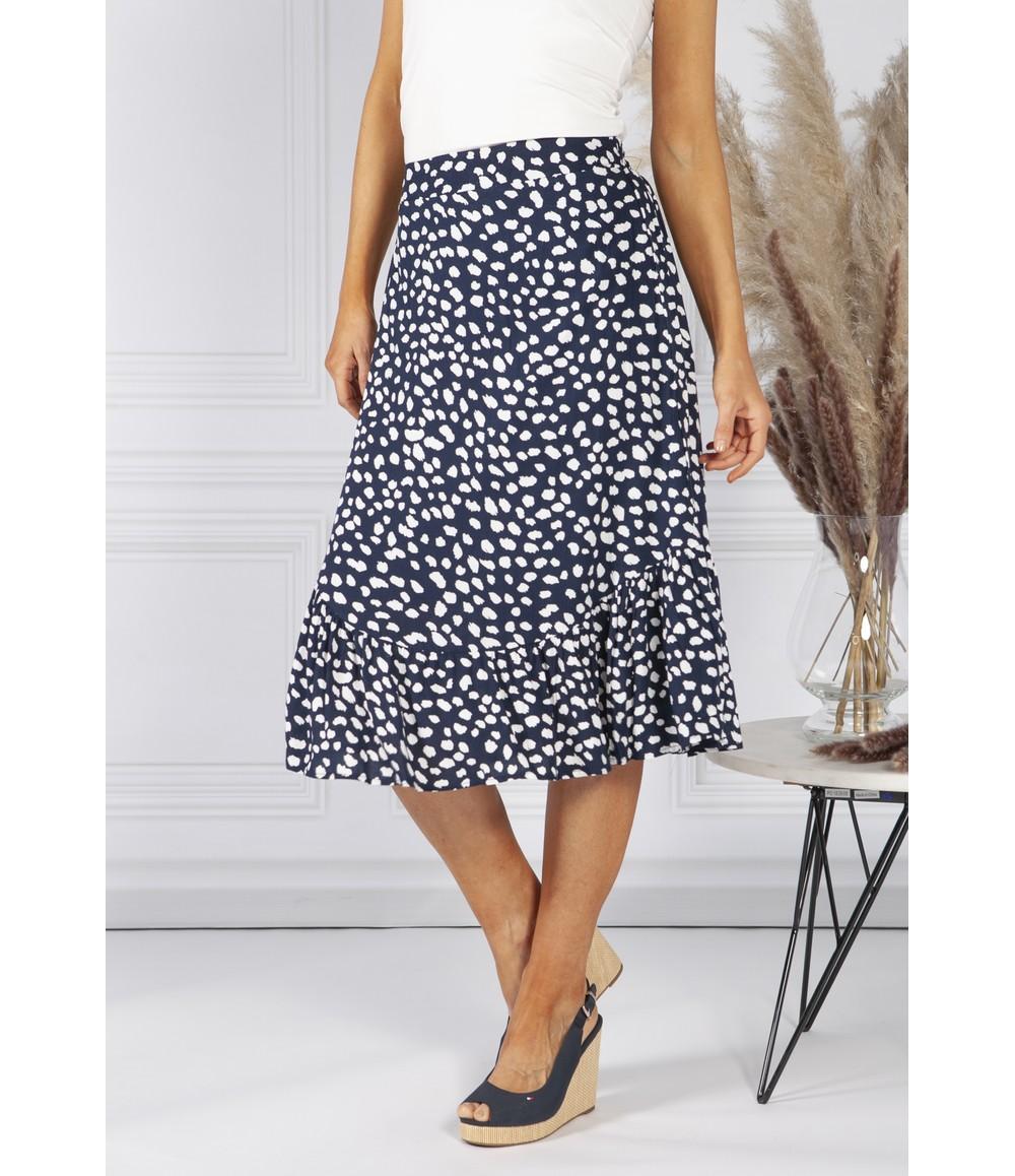 Pamela Scott Navy Polka Dot Skirt