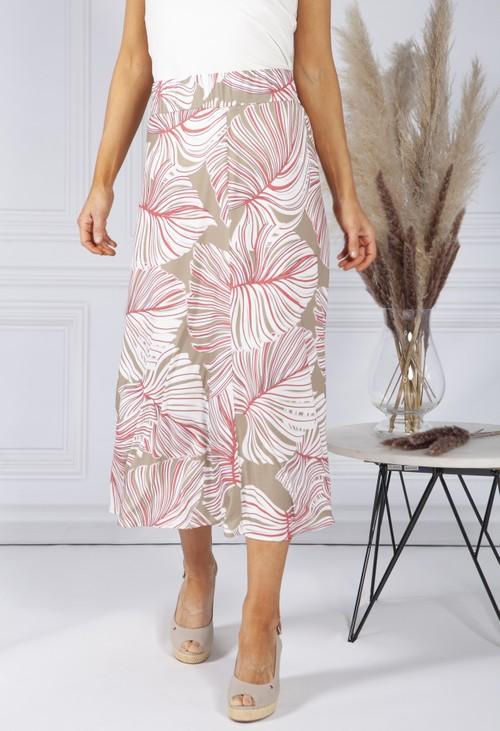 Bianca Tropical Leaf Print Skirt