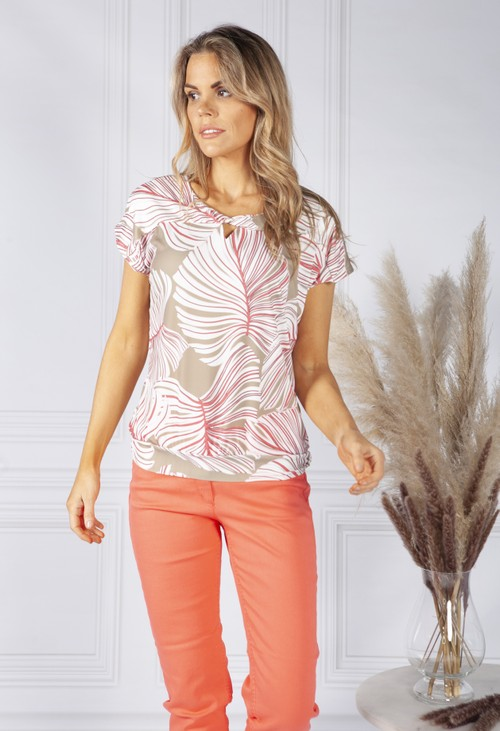Bianca Tropical Leaf Print Top