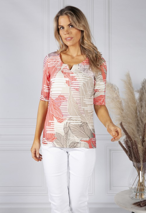 Bianca Tropical Stripe Coral Print Top