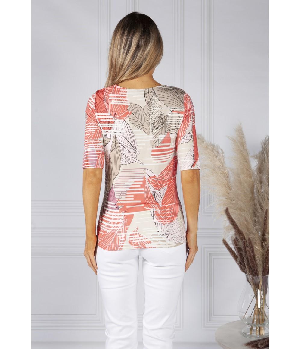 Bianca Tropical Stripe Coral Print Top