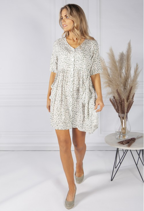 Pamela Scott Sage Flower Print Dress