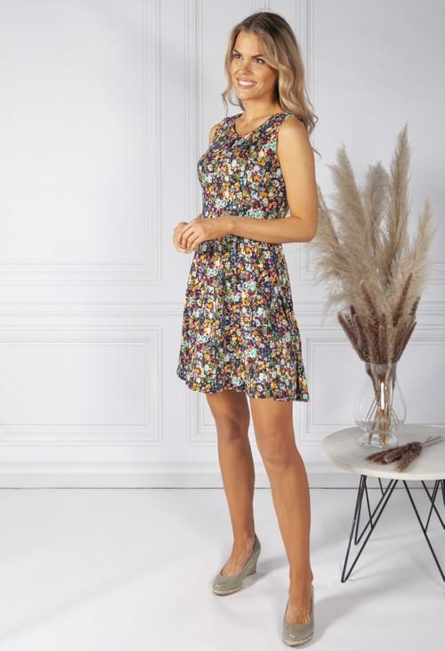 Pamela Scott Floral Print Dress with Keyhole Neckline