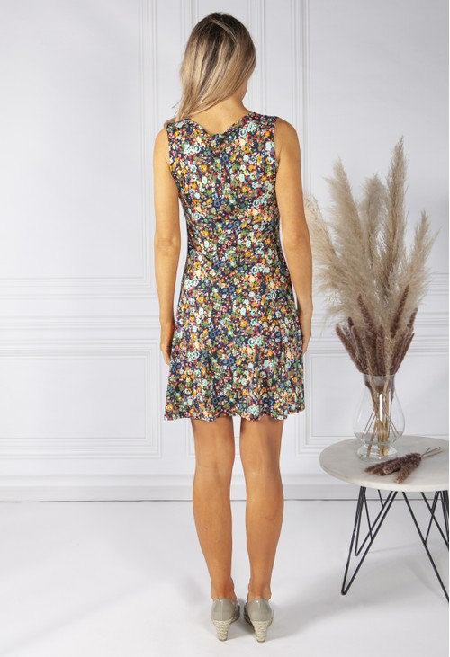 Pamela Scott Floral Print Dress with Keyhole Neckline