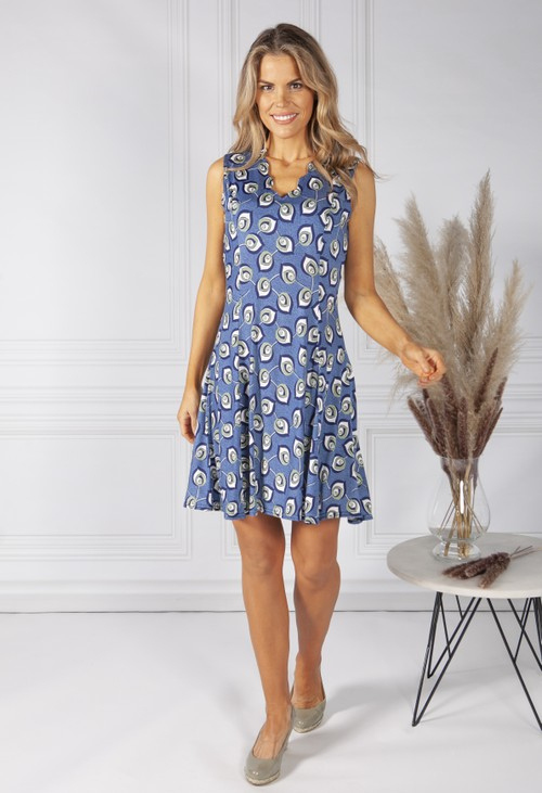 Pamela Scott Abstract Leaf Print Dress