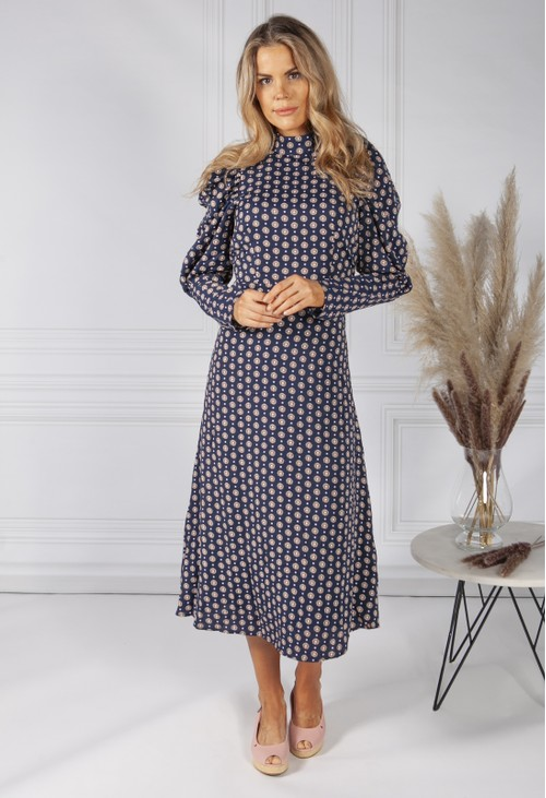 Pamela Scott Navy Daisy Print Dress