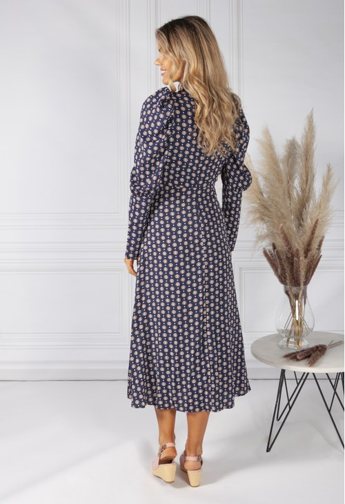 Pamela Scott Navy Daisy Print Dress