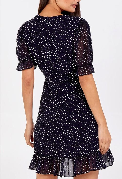 Pamela Scott Navy Polka Dot Dress