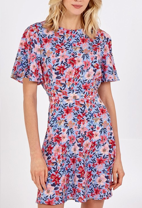 Pamela Scott Pink and Blue Floral Print Dress