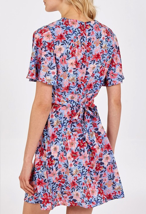 Pamela Scott Pink and Blue Floral Print Dress