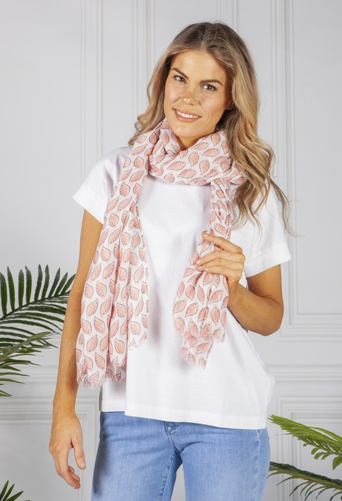 PS Accessories Pale Pink Printed Scarf