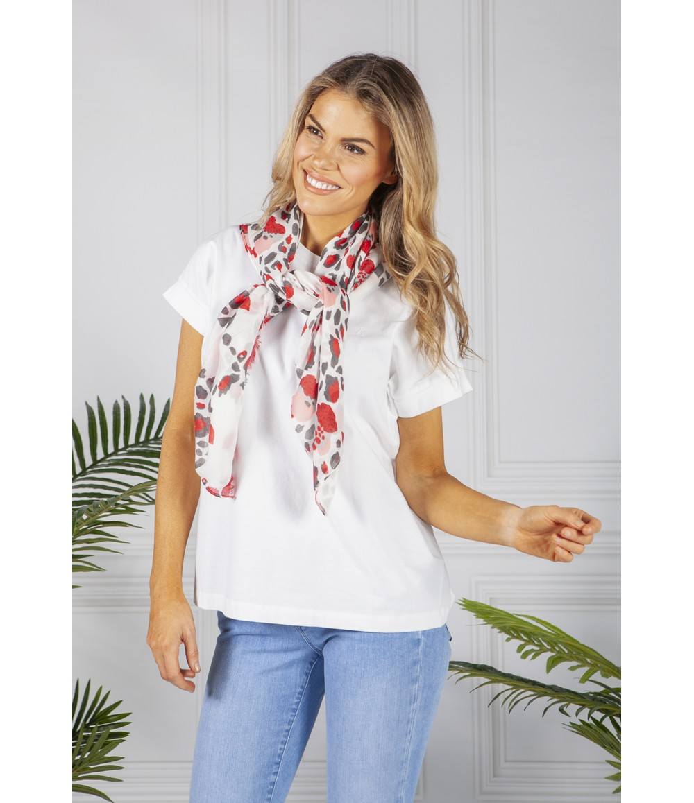 PS Accessories Red and White Leopard Print Scarf