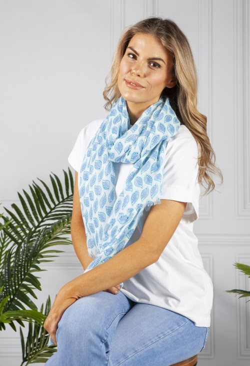 PS Accessories Pale Blue Printed Scarf