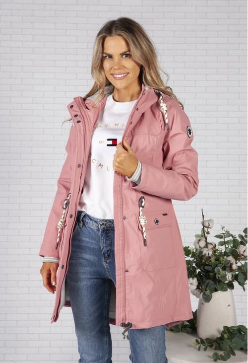 Pamela Scott Rose Marine Rain Jacket with Soft Grey Lining