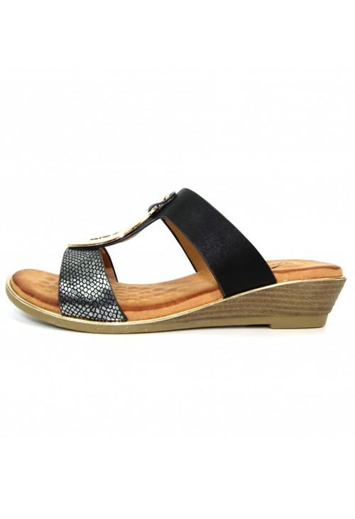 Lunar Pennita Black Low Wedge Sandal