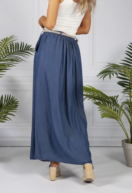 Pamela Scott Denim Blue Maxi Skirt