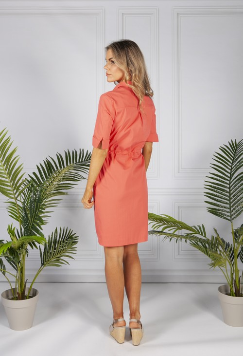 Bianca Shirt Dress in Melon