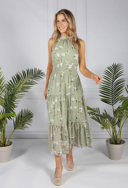 Pamela Scott Sage Wall Flower Print Dress