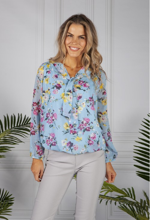 Zapara Textured Floral Print Blouse in Sky Blue