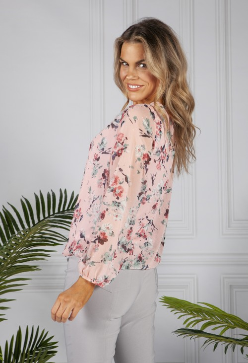 Zapara Textured Floral Print Blouse in Pink