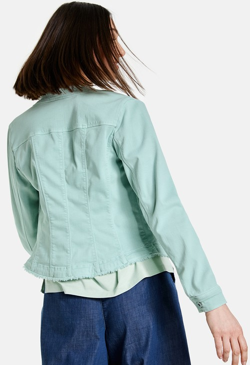 Gerry Weber Denim jacket with a Fringed Edge in Aqua