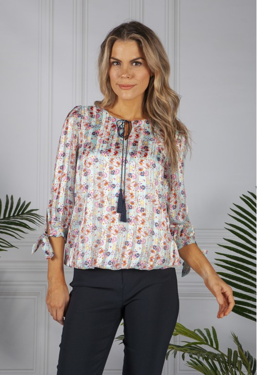 Zapara Stripe and Floral Blouse