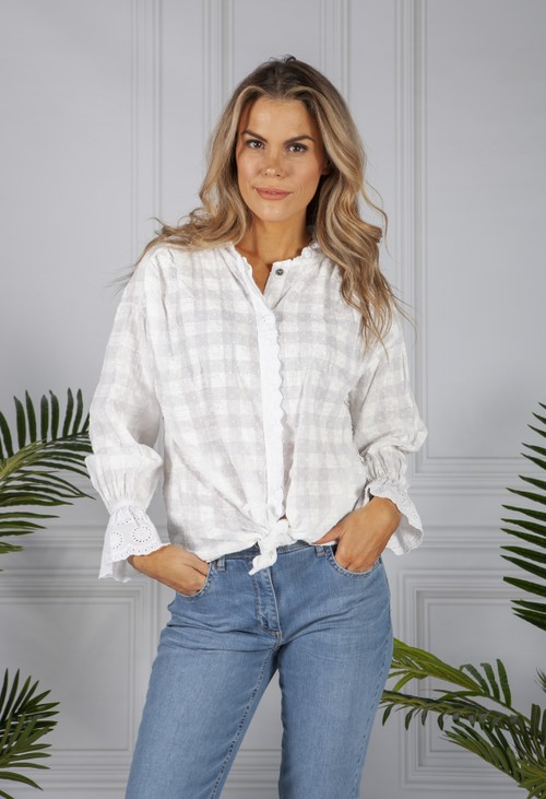 Pamela Scott Painted Check White Blouse