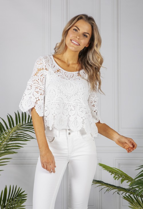 Pamela Scott White Lace Top and Cami Set