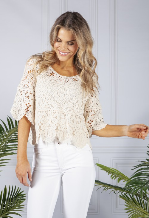 Pamela Scott Sand Lace Top and Cami Set