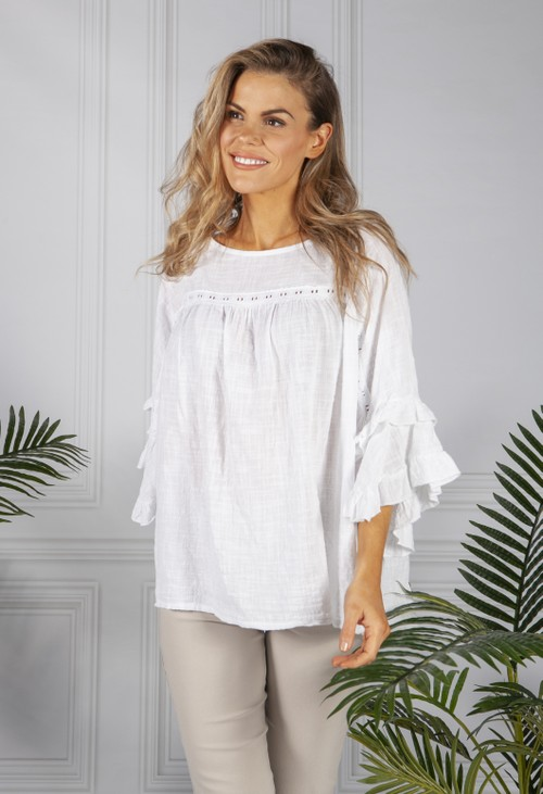 Pamela Scott *Pre Order* White Cotton Blouse with Ruffle Sleeve