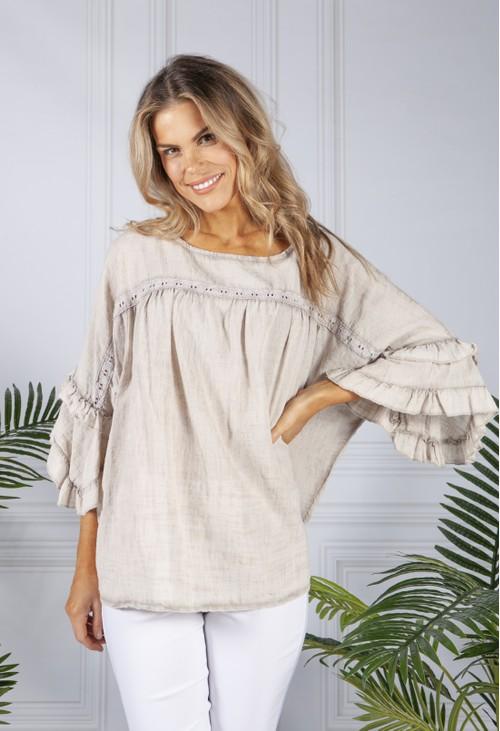 Pamela Scott Beige Cotton Blouse with Ruffle Sleeve