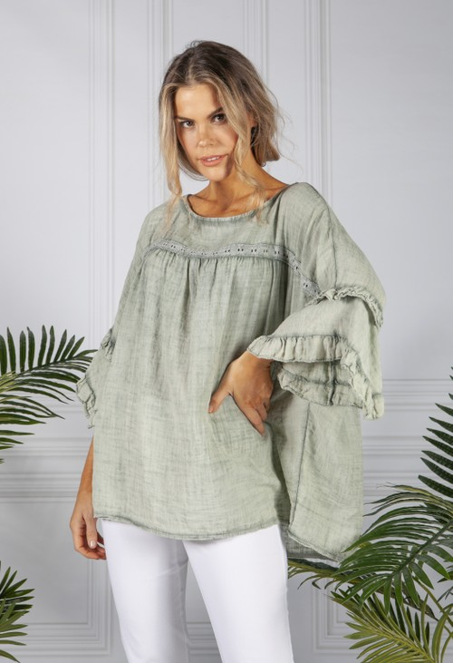 Pamela Scott Faded Green Cotton Blouse with Ruffle Sleeve
