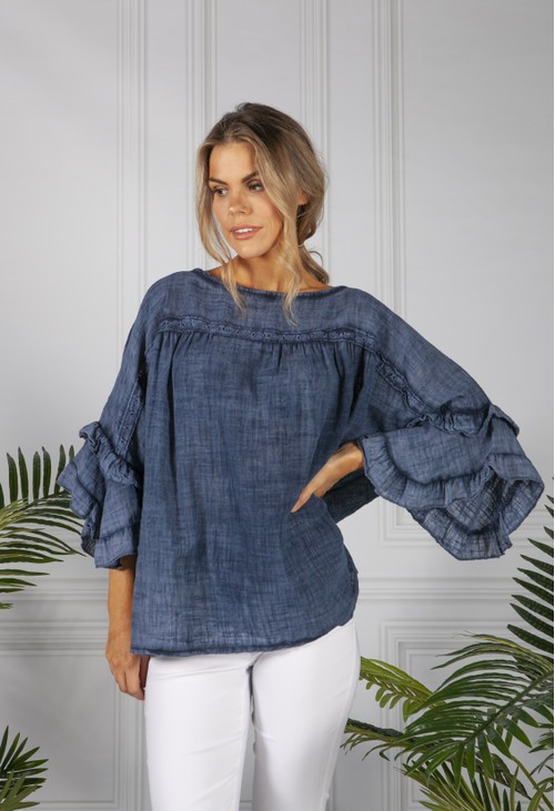 Pamela Scott Faded Navy Cotton Blouse with Ruffle Sleeve